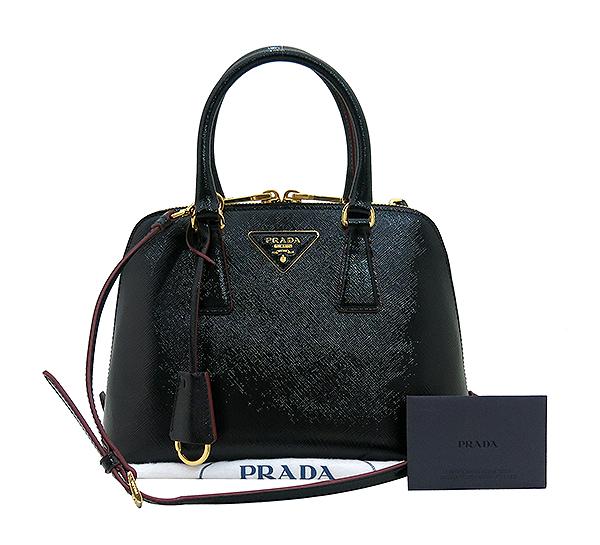 Prada(프라다) 1BA838 블랙 페이던트 사피아노 금장 로고 장식 토트백 + 크로스트랩 2WAY [부산센텀본점]