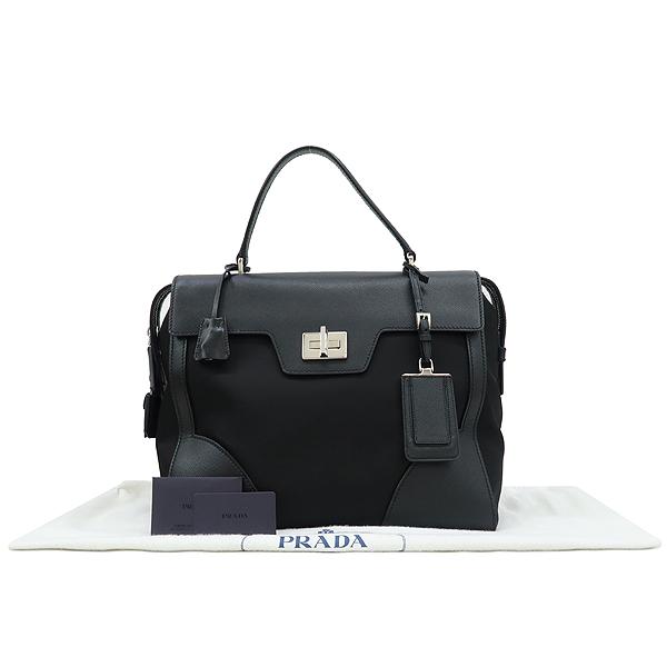 Prada(프라다) 1BA005 사피아노 + 테수토 블랙 탑 핸들 토트백 [강남본점]
