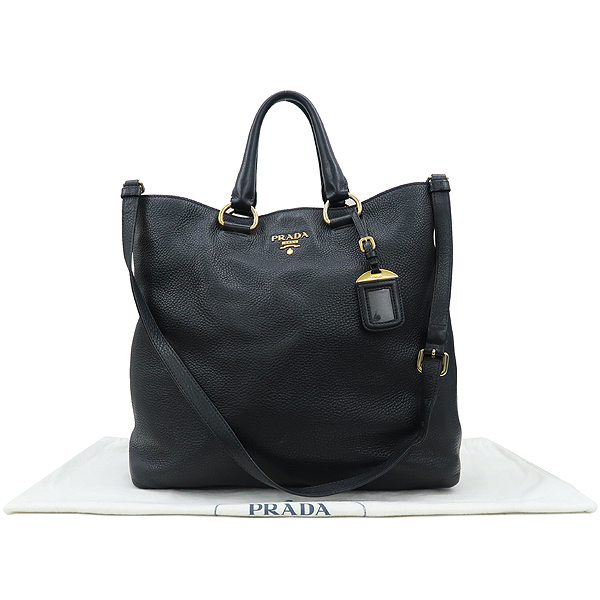 Prada(프라다) BN1713 VIT.DAINO NERO 블랙 컬러 레더 금장 로고 쇼퍼 2WAY [강남본점]