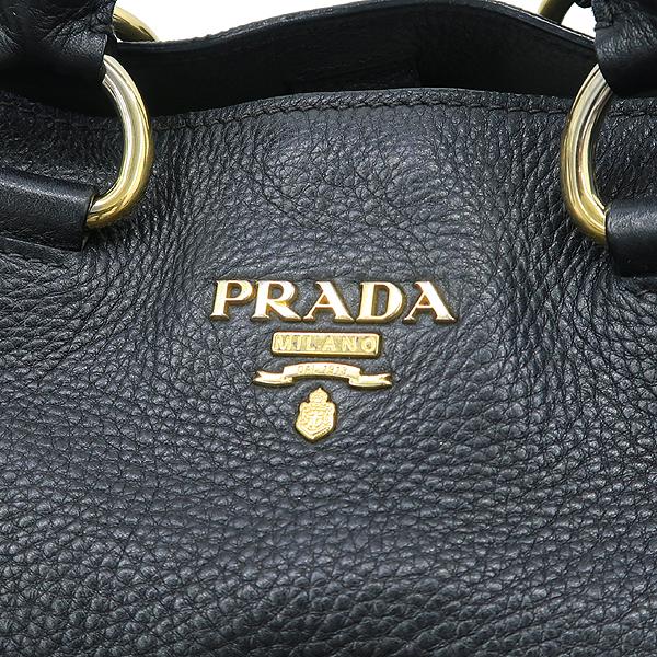 Prada(프라다) BN1713 VIT.DAINO NERO 블랙 컬러 레더 금장 로고 쇼퍼 2WAY [강남본점] 이미지4 - 고이비토 중고명품