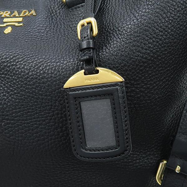 Prada(프라다) BN1713 VIT.DAINO NERO 블랙 컬러 레더 금장 로고 쇼퍼 2WAY [강남본점] 이미지5 - 고이비토 중고명품