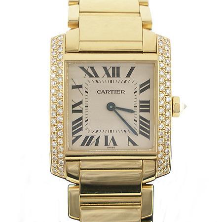 Cartier(까르띠에) 탱크 18K 옐로우 골드 금통 베젤 두줄 다이아 쿼츠 남성용 시계 (W)