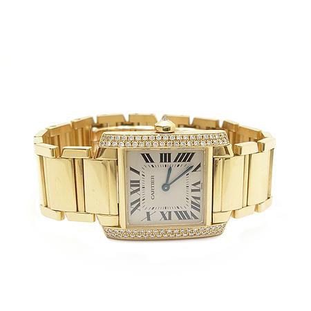 Cartier(까르띠에) 탱크 18K 옐로우 골드 금통 베젤 두줄 다이아 쿼츠 남성용 시계 (W) 이미지3 - 고이비토 중고명품