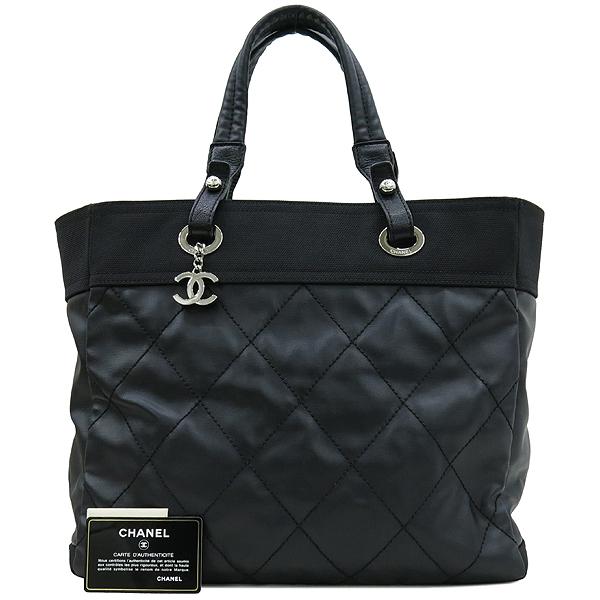 Chanel(샤넬) 블랙 패브릭 레더 혼방 비아리츠 MM 사이즈 숄더백 [대구반월당본점]