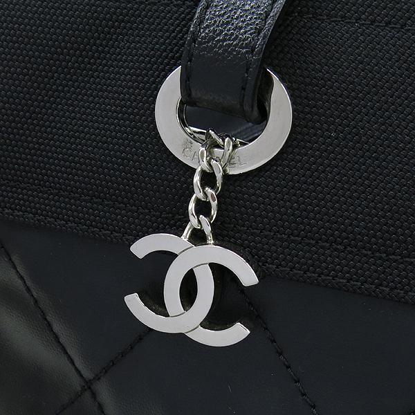 Chanel(샤넬) 블랙 패브릭 레더 혼방 비아리츠 MM 사이즈 숄더백 [대구반월당본점] 이미지4 - 고이비토 중고명품