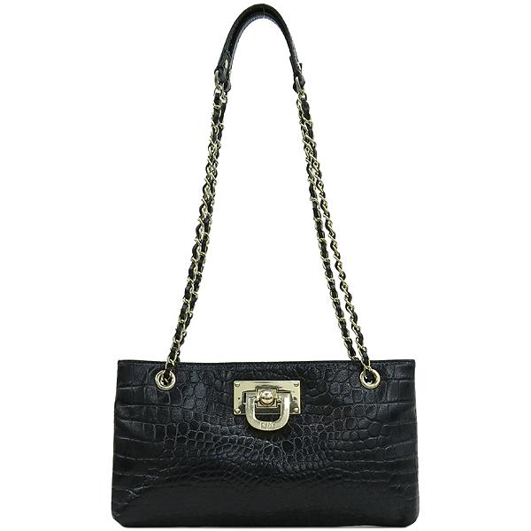 DKNY(도나카란) 금장 로고 장식 크로커다일 문양 블랙 레더 체인 숄더백 [강남본점]