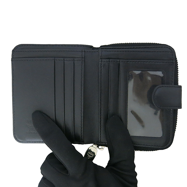 MCM(엠씨엠) 1033072030522 블랙 레더 비세토스 라이언장식 집업 반지갑 [동대문점]