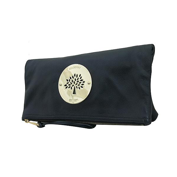 MULBERRY(멀버리) 로고 장식 블랙 레더 클러치백 [부산센텀본점] 이미지2 - 고이비토 중고명품