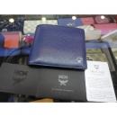 MCM(엠씨엠) 은장 로고 장식 블루 레더 남성용 반지갑 w