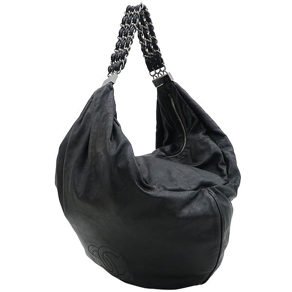 Chanel(샤넬) 빈티지 카프스킨 블랙 coco 로고 스티치 호보 3체인 핸들 숄더백 [강남본점] 이미지2 - 고이비토 중고명품