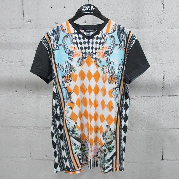 Balmain(발망) 면 100% 체크 프린팅 여성용 브이넥 티셔츠 [동대문점]