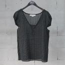 STELLA McCARTNEY (스텔라 메카트니) 면 혼방 다크 그린 컬러 스트라이프 여성용 시스루 티셔츠 [동대문점]