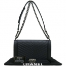 Chanel(샤넬) A92494 블랙 레더 퀼팅 쉐브론 보이샤넬 L사이즈 빈티지 은장로고 체인 숄더백 [강남본점]