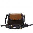 Prada(프라다) 브라운 에나멜 레더 블랙 레더 트리밍 금장 로고 미니 플랩 크로스백 [인천점]