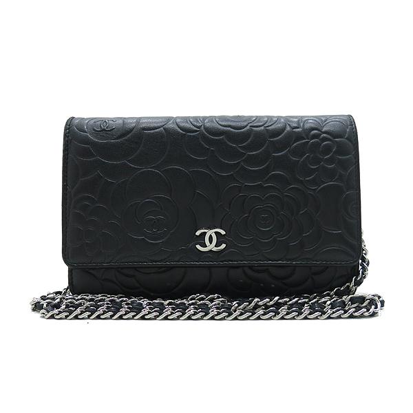 Chanel(샤넬) A447421 블랙 램스킨 까멜리아 WOC 은장로고 체인 미니 크로스백 [인천점] 이미지2 - 고이비토 중고명품
