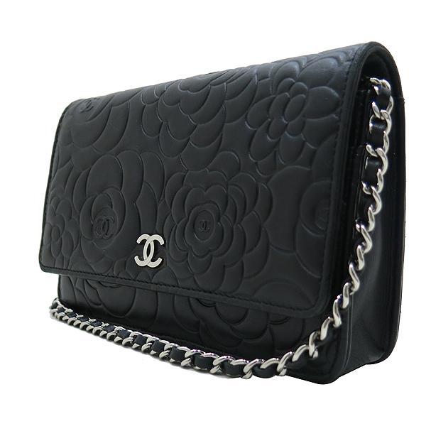 Chanel(샤넬) A447421 블랙 램스킨 까멜리아 WOC 은장로고 체인 미니 크로스백 [인천점] 이미지3 - 고이비토 중고명품