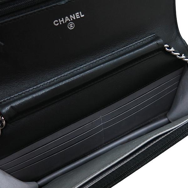Chanel(샤넬) A447421 블랙 램스킨 까멜리아 WOC 은장로고 체인 미니 크로스백 [인천점] 이미지7 - 고이비토 중고명품