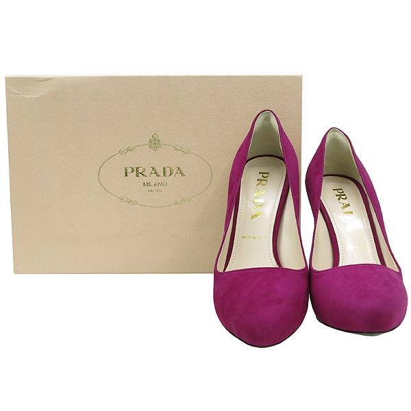 Prada(프라다) 1IP242 다크퍼플 컬러 스웨이드 골드 디테일 펌프스 여성용구두 [강남본점]