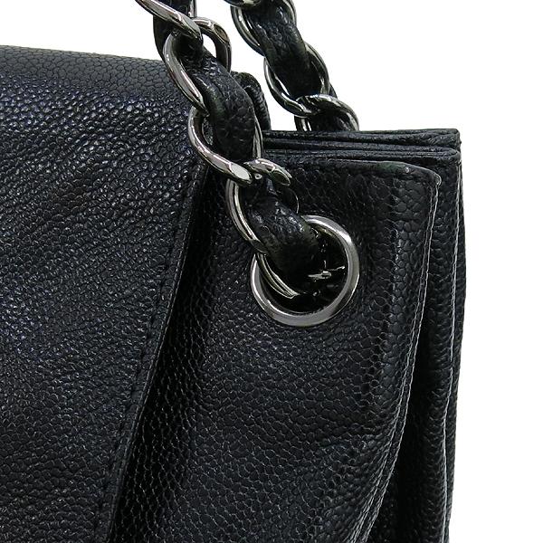 Chanel(샤넬) 은장 COCO로고 파우치 장식 블랙 캐비어 플랩 은장 체인 숄더백 [강남본점]