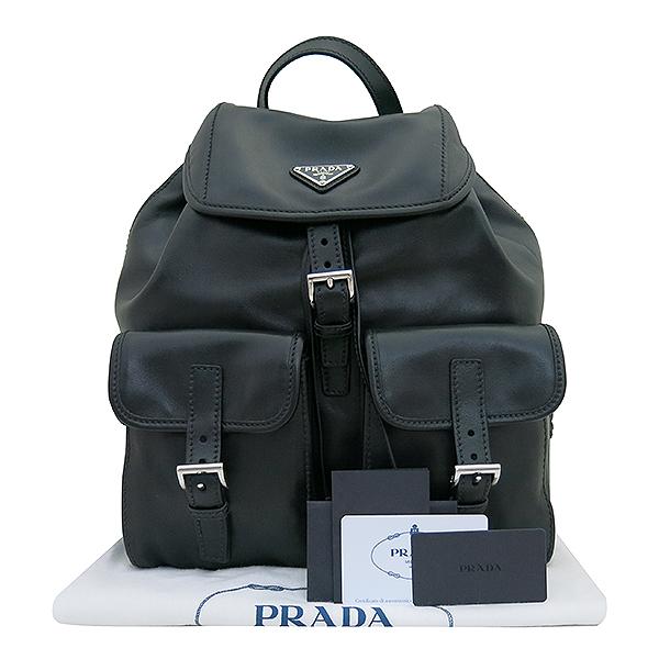 Prada(프라다) 1BZ811 ASK VERA NERO 블랙 래더(가죽) 삼각 은장로고 투 포켓 백팩 [부산센텀본점]