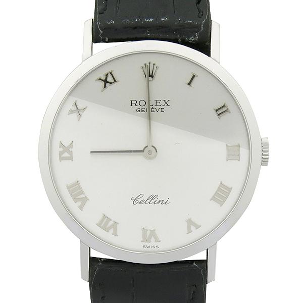 Rolex(로렉스) 4112 클래식 18K(750) 화이트 골드 금통 CELLINI(첼리니) 수동 남성용 가죽 밴드 시계 [강남본점]