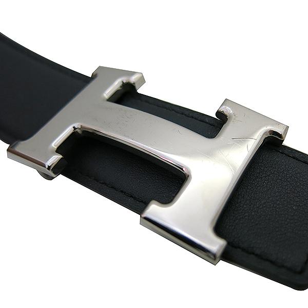 Hermes(에르메스) 은장 H 로고 블랙 브라운 양면 남성용 벨트 [부산센텀본점] 이미지5 - 고이비토 중고명품