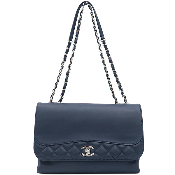 Chanel(샤넬) 은장 로고 장식 네이비 레더 퀼팅 3포켓 아코디언 체인 숄더백 [강남본점] 이미지2 - 고이비토 중고명품