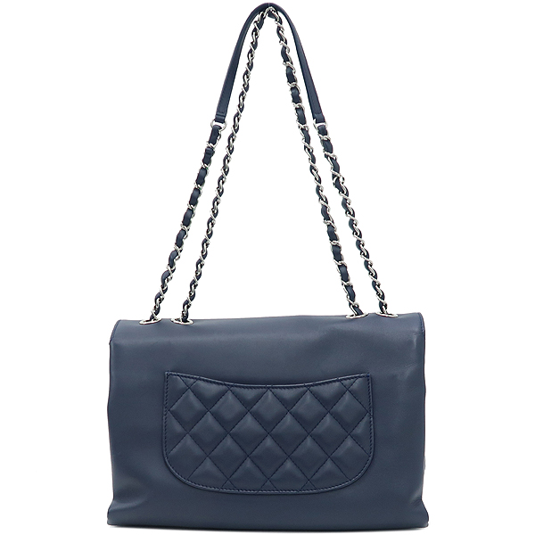 Chanel(샤넬) 은장 로고 장식 네이비 레더 퀼팅 3포켓 아코디언 체인 숄더백 [강남본점] 이미지4 - 고이비토 중고명품