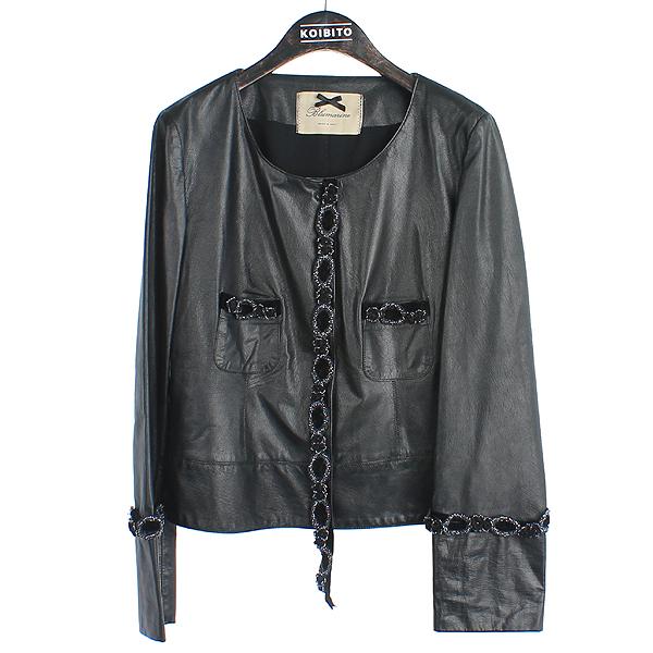 Blumarine(블루마린) 블랙 컬러 비즈 포인트 여성용 레더 자켓 [강남본점]
