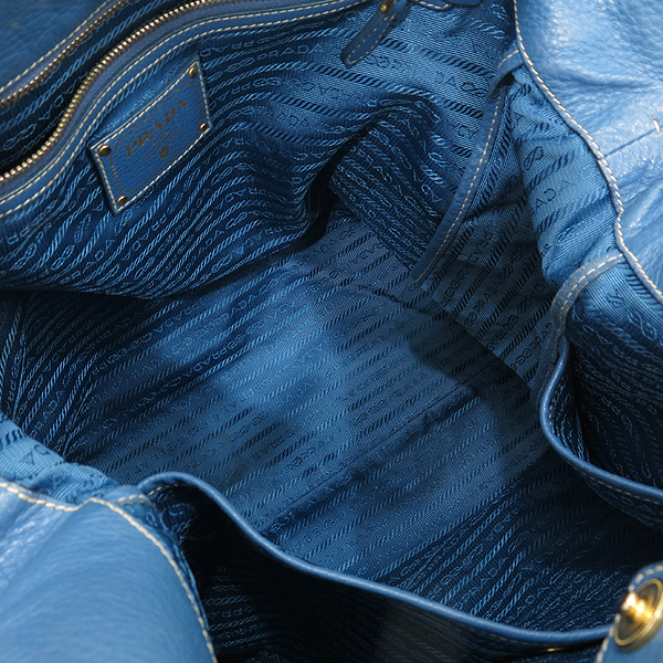 Prada(프라다) BN1713 VIT.DAINO(비텔로다이노) 오션블루 레더 금장 로고 토트백 + 숄더스트랩 2WAY [인천점] 이미지7 - 고이비토 중고명품