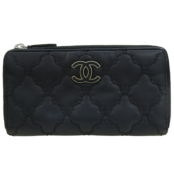 Chanel(샤넬) 블랙 카프스킨 COCO 로고 장식 더블 스티치 Hampton (햄프턴) 지피 장지갑 [강남본점]