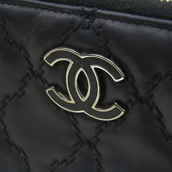 Chanel(샤넬) 블랙 카프스킨 COCO 로고 장식 더블 스티치 Hampton (햄프턴) 지피 장지갑 [강남본점] 이미지2 - 고이비토 중고명품
