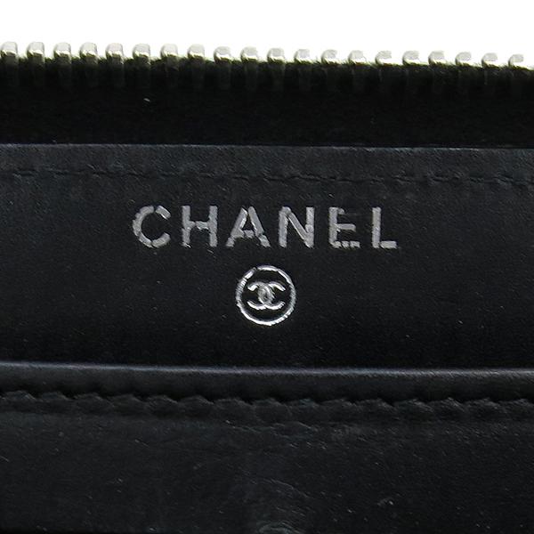 Chanel(샤넬) 블랙 카프스킨 COCO 로고 장식 더블 스티치 Hampton (햄프턴) 지피 장지갑 [강남본점] 이미지4 - 고이비토 중고명품