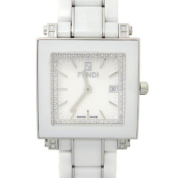 Fendi(펜디) 6200G 사각 스퀘어드 다이아몬드 세팅 세라믹 밴드 여성용 시계 [강남본점]