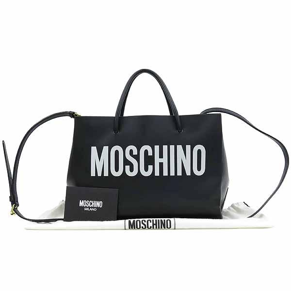 Moschino(모스키노) 7415 로고 프린팅 블랙 레더 토트백 + 숄더 스트랩 [강남본점]