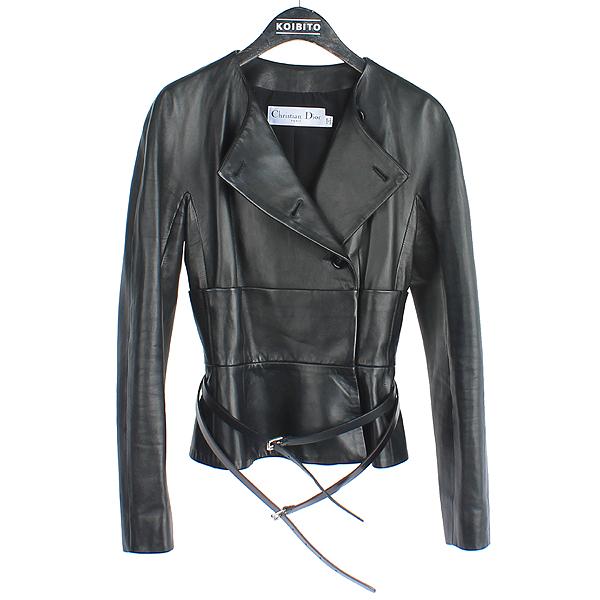 Dior(크리스챤디올) 100% 램스킨 레더 블랙 컬러 여성용 가죽 자켓 + 허리끈 SET [강남본점]