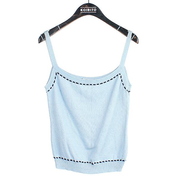 Moschino(모스키노) 면 100% 블루 컬러 블랙 스티치 여성용 나시 [강남본점]