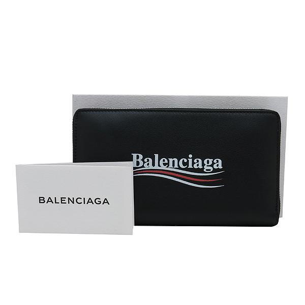 Balenciaga(발렌시아가) 516362 블랙 레더 로고 프린트 어라운드 집업 장지갑 [인천점]