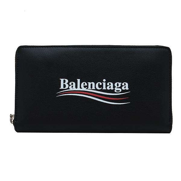 Balenciaga(발렌시아가) 516362 블랙 레더 로고 프린트 어라운드 집업 장지갑 [인천점] 이미지2 - 고이비토 중고명품