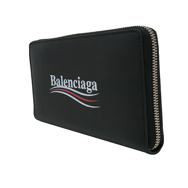 Balenciaga(발렌시아가) 516362 블랙 레더 로고 프린트 어라운드 집업 장지갑 [인천점] 이미지3 - 고이비토 중고명품