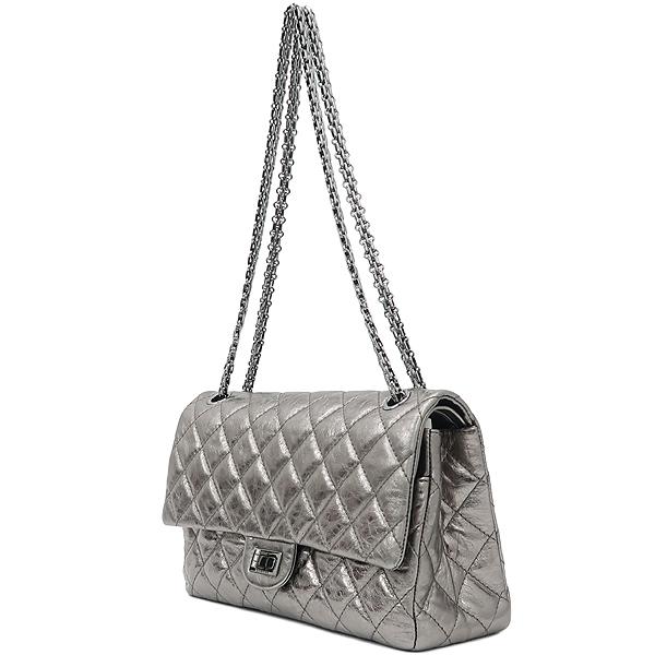 Chanel(샤넬) 2.55 빈티지 메탈릭 실버 L 사이즈 은장 체인 숄더백 [강남본점] 이미지3 - 고이비토 중고명품
