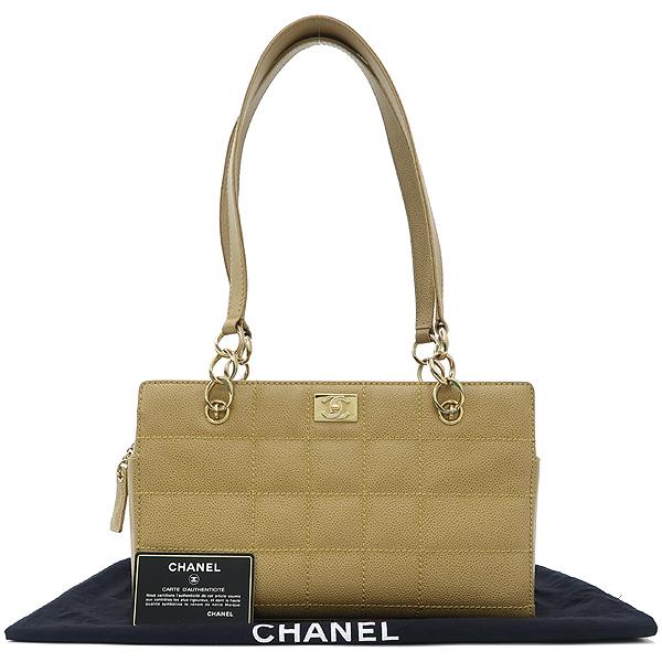 Chanel(샤넬) 금장 로고 장식 베이지 컬러 레더 스티치 정방 토트백 [강남본점]