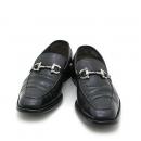 Ferragamo(페라가모) 은장 간치니 로고 장식 블랙 레더 남성용 구두 (W)