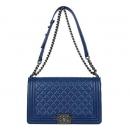 Chanel(샤넬) 빈티지 은장로고 블루 램스킨 보이샤넬 라지 숄더백[광주1]