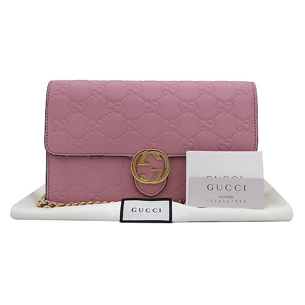 Gucci(구찌) 409340 핑크 GG 시그니처 금장 체인 크로스 지갑 [부산센텀본점]