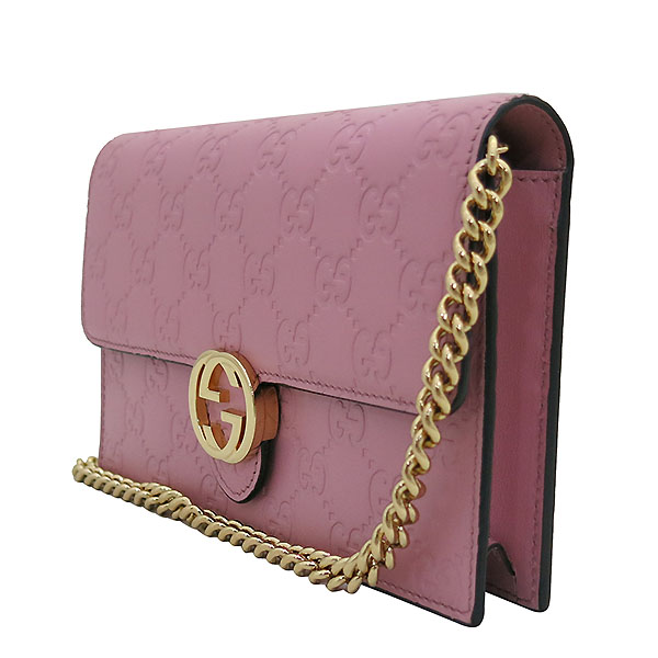 Gucci(구찌) 409340 핑크 GG 시그니처 금장 체인 크로스 지갑 [부산센텀본점] 이미지3 - 고이비토 중고명품