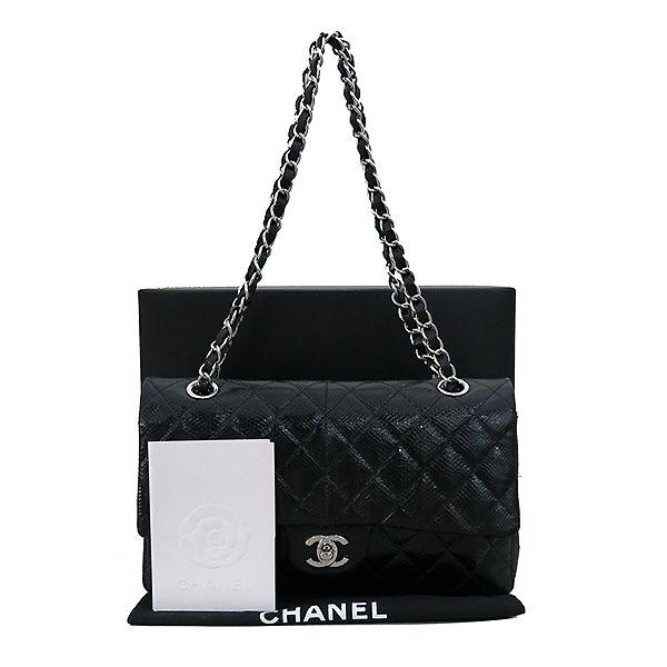 Chanel(샤넬) 블랙 리자드(도마뱀) 가죽 클래식 M사이즈 은장 체인 숄더백 [부산센텀본점]