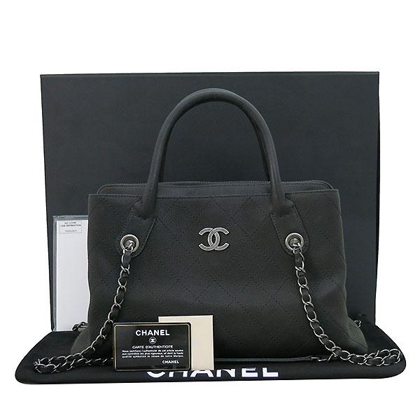 Chanel(샤넬) A94850 블랙 그레인드 카프스킨 캐비어 은장COCO로고 퀼팅 토트백 + 숄더 스트랩  2WAY [부산센텀본점]