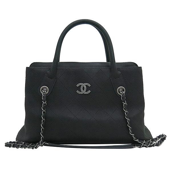 Chanel(샤넬) A94850 블랙 그레인드 카프스킨 캐비어 은장COCO로고 퀼팅 토트백 + 숄더 스트랩  2WAY [부산센텀본점] 이미지2 - 고이비토 중고명품