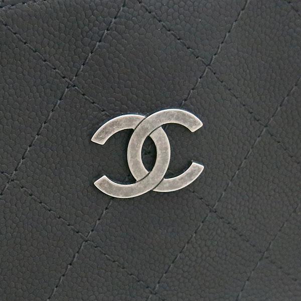 Chanel(샤넬) A94850 블랙 그레인드 카프스킨 캐비어 은장COCO로고 퀼팅 토트백 + 숄더 스트랩  2WAY [부산센텀본점] 이미지4 - 고이비토 중고명품